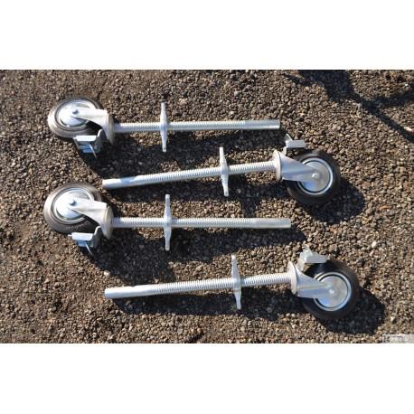 lot de 4 vérins réglable avec roue pour échafaudage  HE 250kg